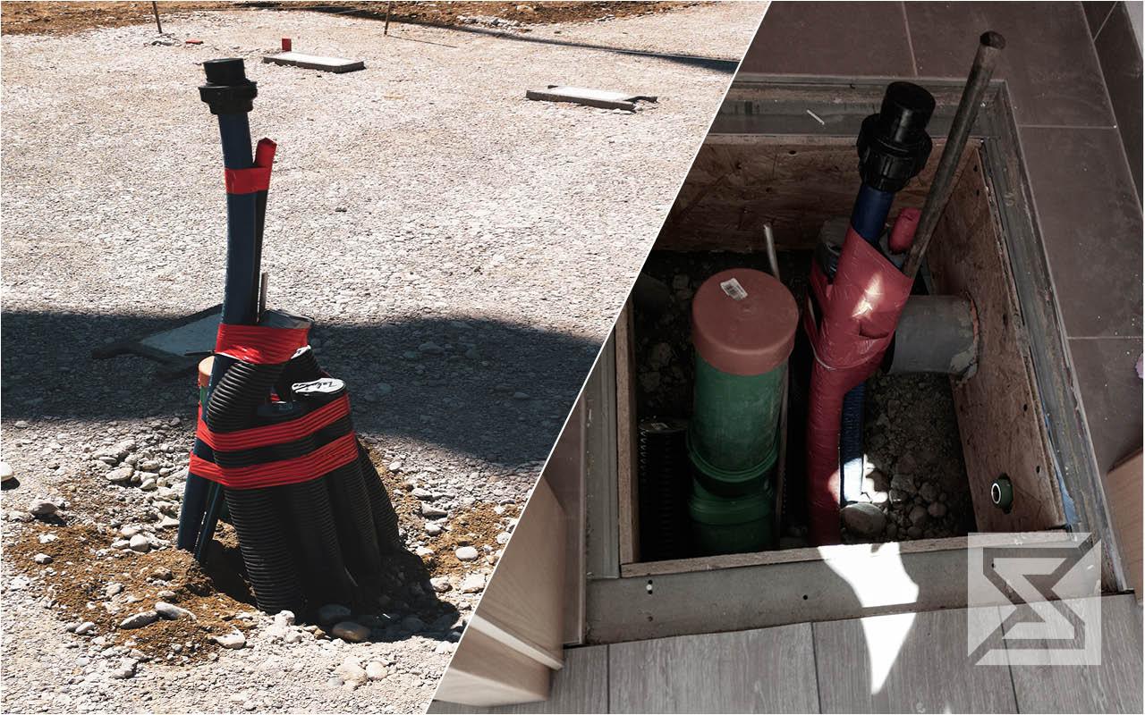Modulhaus Medienversorgung: Abwasser Frischwasser Strom und Telekommunikation